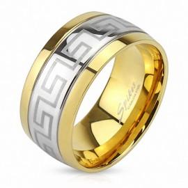 Bague homme acier labyrinthe doré