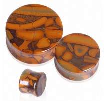 Piercing plug pierre jaspe bambou