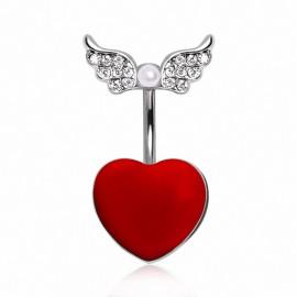 Piercing nombril acier coeur rouge ailes