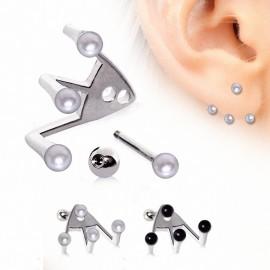 Piercing oreille trident perles
