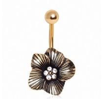 Piercing nombril plaqué or fleur gemmes