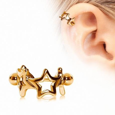 Piercing hélix plaqué or manchette étoiles