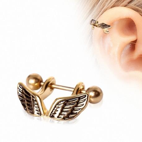 Piercing hélix plaqué or manchette ailes d'ange
