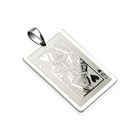 Pendentif Carte Dame de Coeur acier inoxydable
