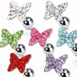 Piercing Oreille Cartilage Tragus Papillon Strass