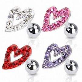 Piercing Oreille Cartilage Tragus Coeur Strass