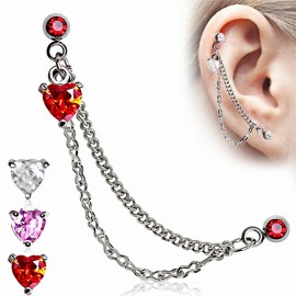 Double Piercing Cartilage Oreille Coeur