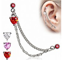 Double Piercing Cartilage Tragus Coeur