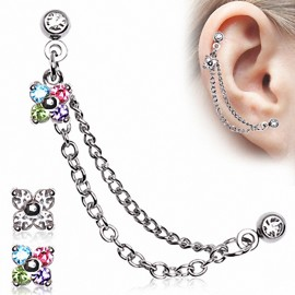 Double Piercing Cartilage Oreille Fleur