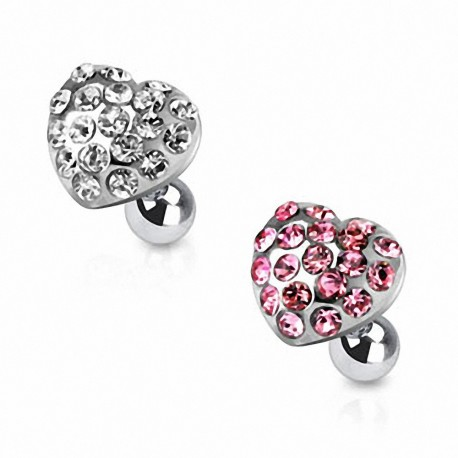 Piercing cartilage coeur strass