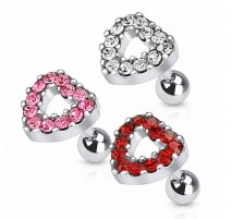 Piercing cartilage coeur pavé strass