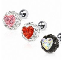 Piercing cartilage coeur crystal