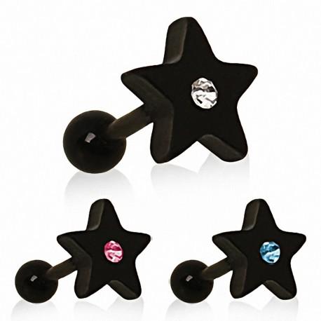 Piercing tragus étoile noire