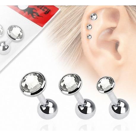 Lot de 3 piercing hélix strass