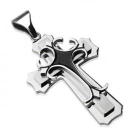 Pendentif double croix gothique acier inoxydable Noir