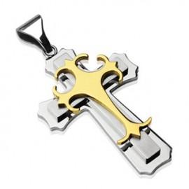 Pendentif double croix gothique acier inoxydable Plaqué Or