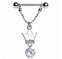 Piercing téton pendentif couronne