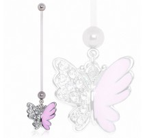 Piercing nombril de grossesse papillon bicolore