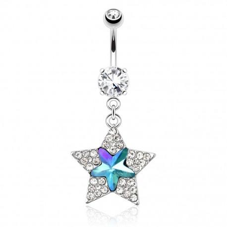 Piercing nombril étoile turquoise