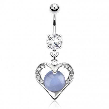 Piercing nombril coeur gemme bleu