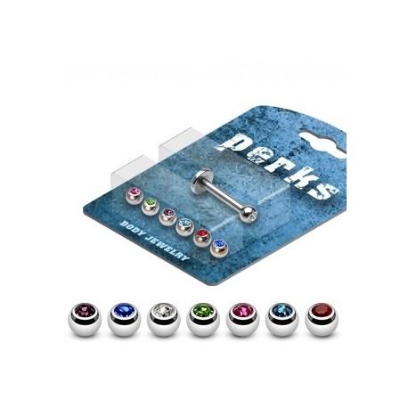 Pack Piercing Labret Boules Serties de Gemmes - Bijou Piercing Labret