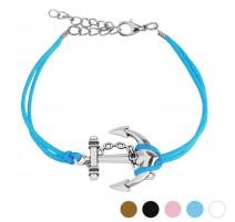 Bracelet similicuir ancre marine