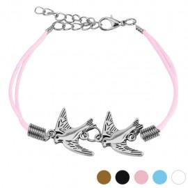 Bracelet similicuir colombes