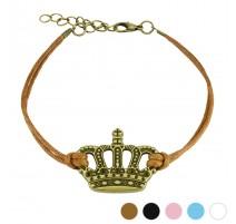 Bracelet similicuir couronne