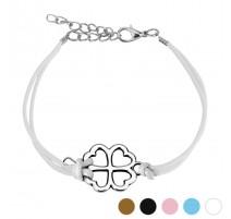 Bracelet similicuir trèfle