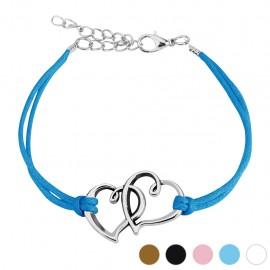 Bracelet similicuir coeurs