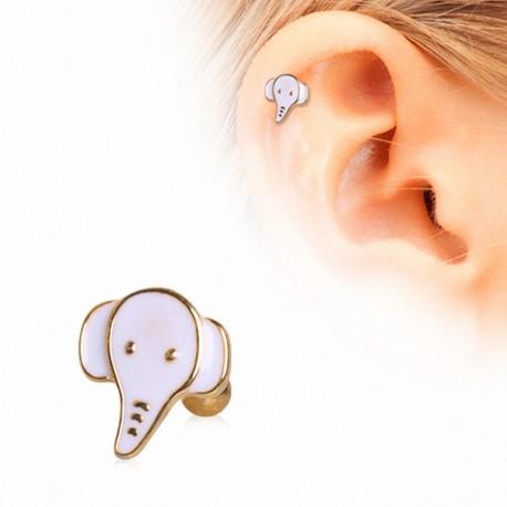 Piercing cartilage plaqué or éléphant