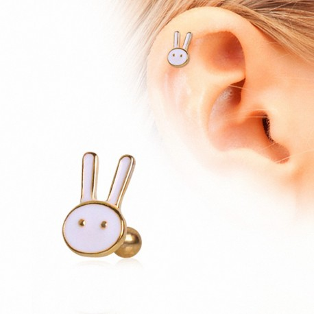 Piercing cartilage plaqué or lapin