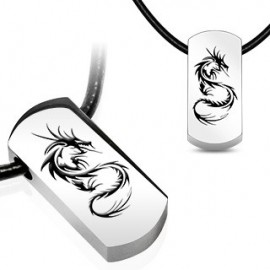 """Chaîne Similicuir avec pendentif en acier """"Dragon"""""""