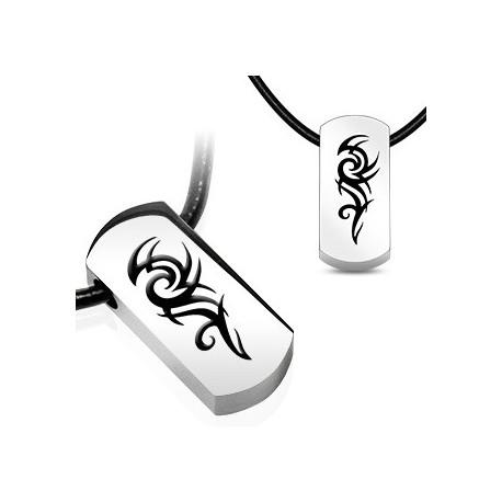 "Chaîne Similicuir avec pendentif en acier ""Tribal"""