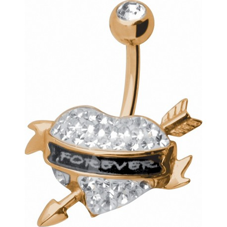 Piercing nombril Crystal Evolution Swarovski Doré Coeur Forever