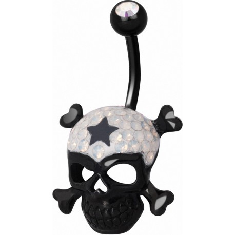 Piercing nombril Crystal Evolution Swarovski Noir Tête de mort