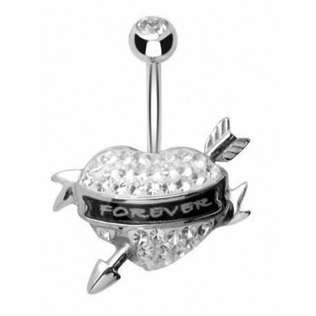 Piercing nombril Crystal Evolution Swarovski Coeur Forever