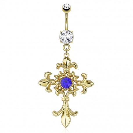 Piercing nombril plaqué or croix fleur de lys
