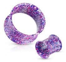 Piercing tunnel taches métalliques bleu violet