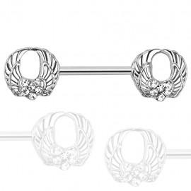 Piercing téton avec ailes d'ange rond