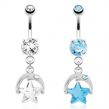 Piercing nombril lune et étoile