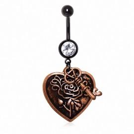 Piercing nombril antique coeur et clef