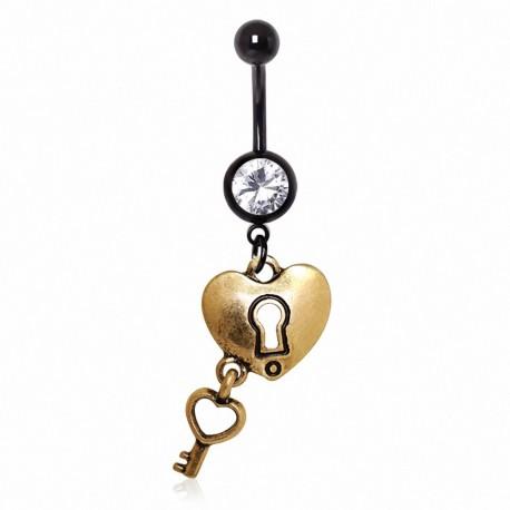 Piercing nombril coeur clef doré