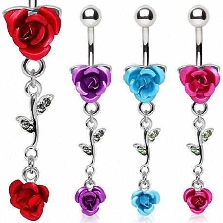 Piercing nombril deux roses métalliques