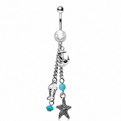 Piercing nombril charms marins