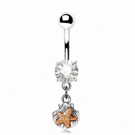 Piercing nombril étoile de mer coquillage