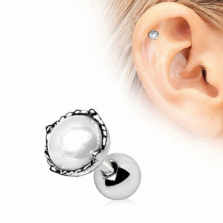 Piercing cartilage couronne perle
