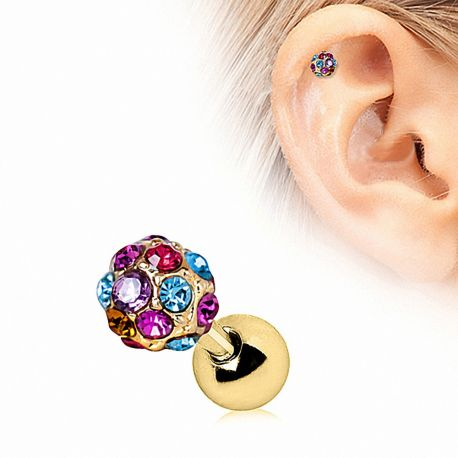 Piercing cartilage plaqué or multicolore
