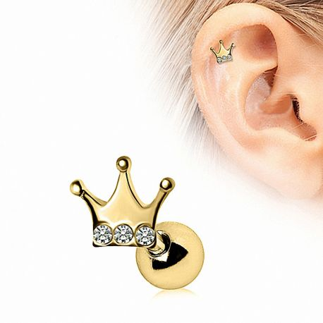 Piercing cartilage plaqué or couronne strass