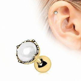 Piercing cartilage plaqué or couronne perle